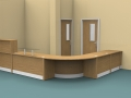 Render- Flex DDA reception desk finished in Oak-DDA corner view