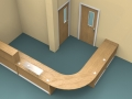 Render- Flex DDA reception desk finished in Oak-View from above