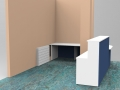 Render- Bespoke DDA reception desk rear side view