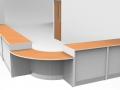 Render-Flex DDA reception counter finished -Beech/Light Grey corner view