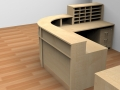 Render- Bespoke Flex reception desk with high and low top units finished in Maple viewed from behind showing the storage.