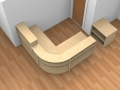 Render- Bespoke Flex reception desk with high and low top units finished in Maple shown from above.