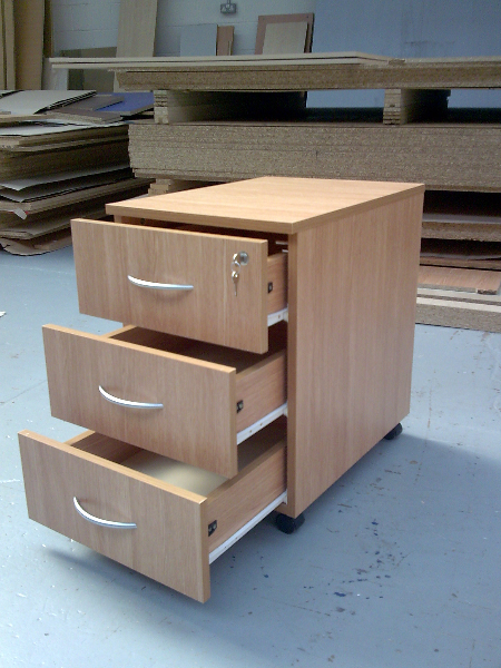 3 drawer under-desk pedestal-open