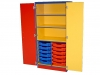 Multi coloured shelf and tray cupboard