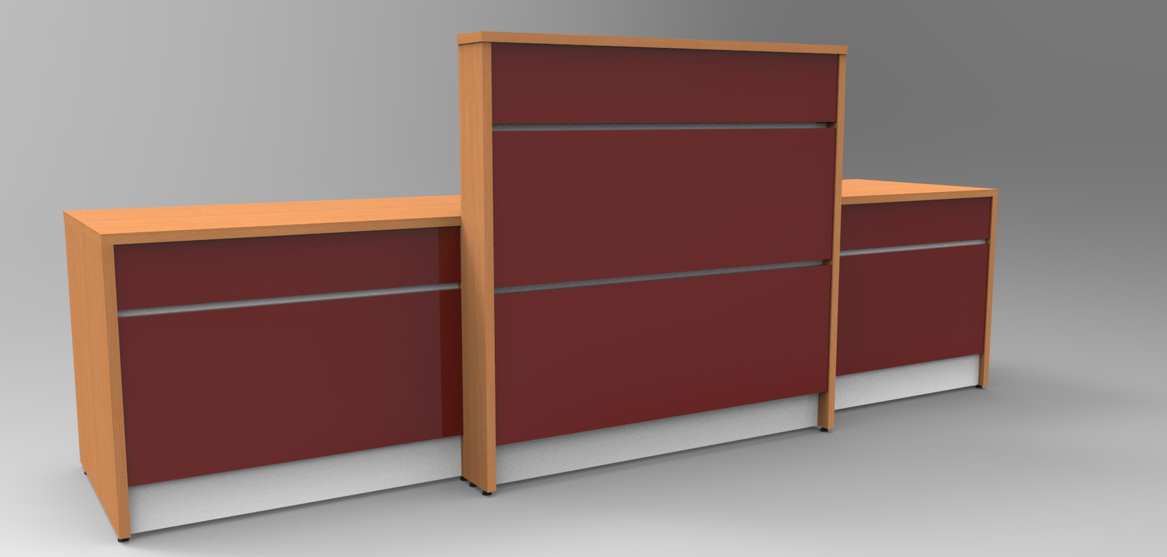 Image 11UA - Union tall+desk height. Beech + Burgundy