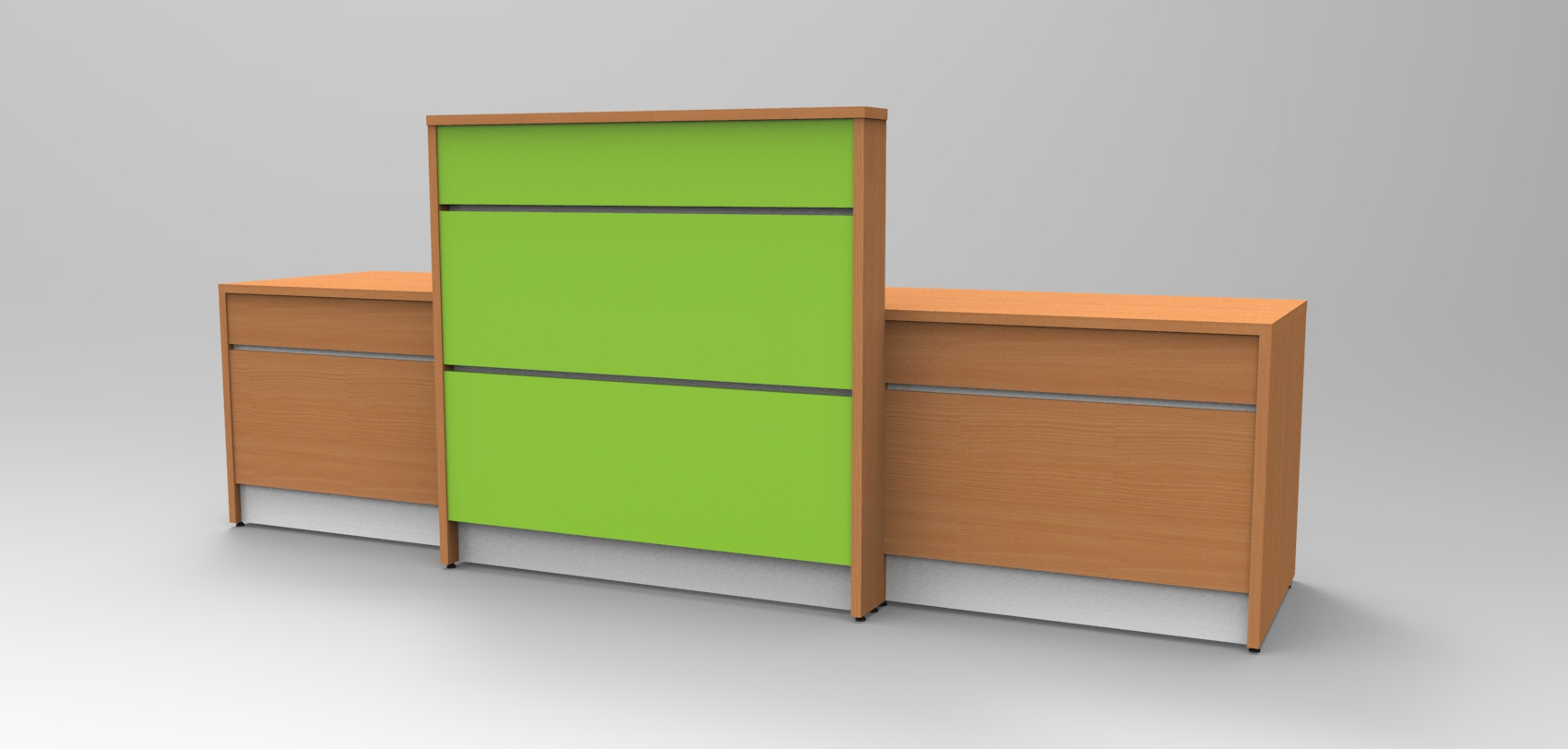 Image 10U Union reception desk - Beech and Lime Green