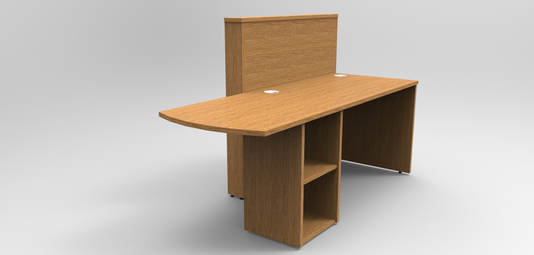 Image 5UB - Tall Union compact Oak reception desk with extension rear view showing the shelf storage