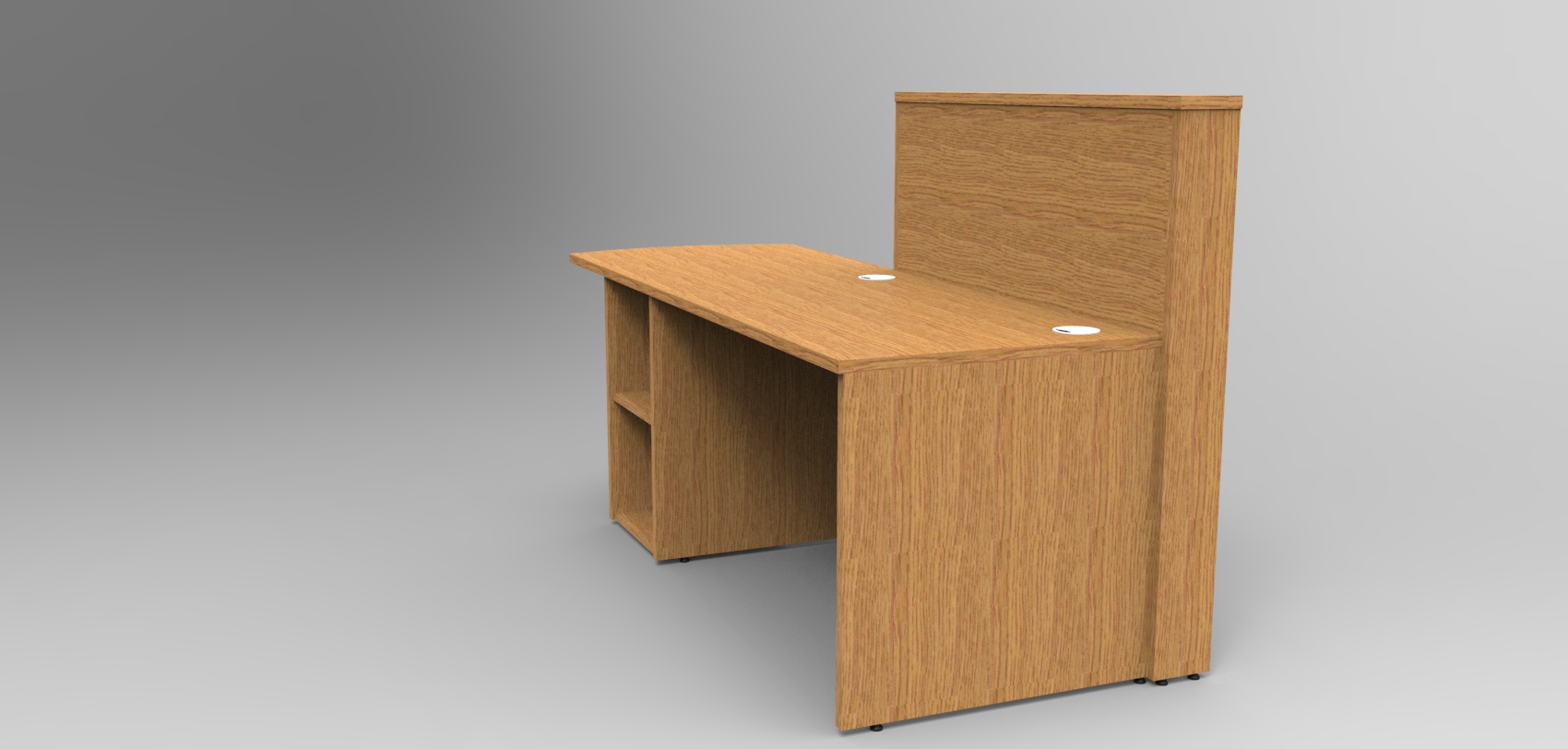 Image 5UA - Tall Union compact Oak reception desk with extension - rear