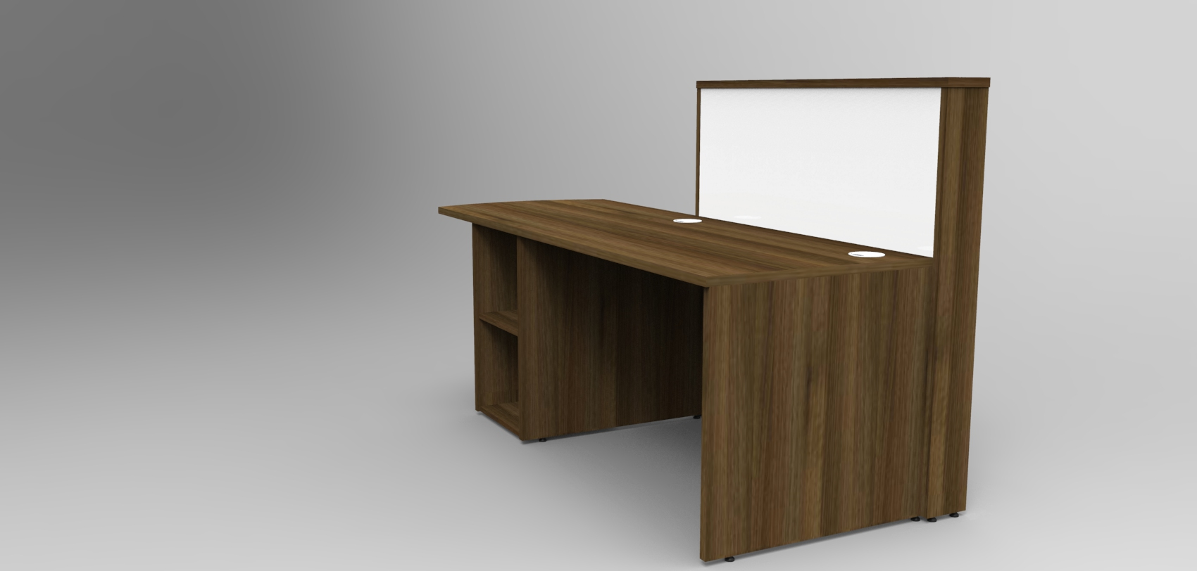 Image 4UC- Tall Walnut and White tall compact Union reception desk, rear view