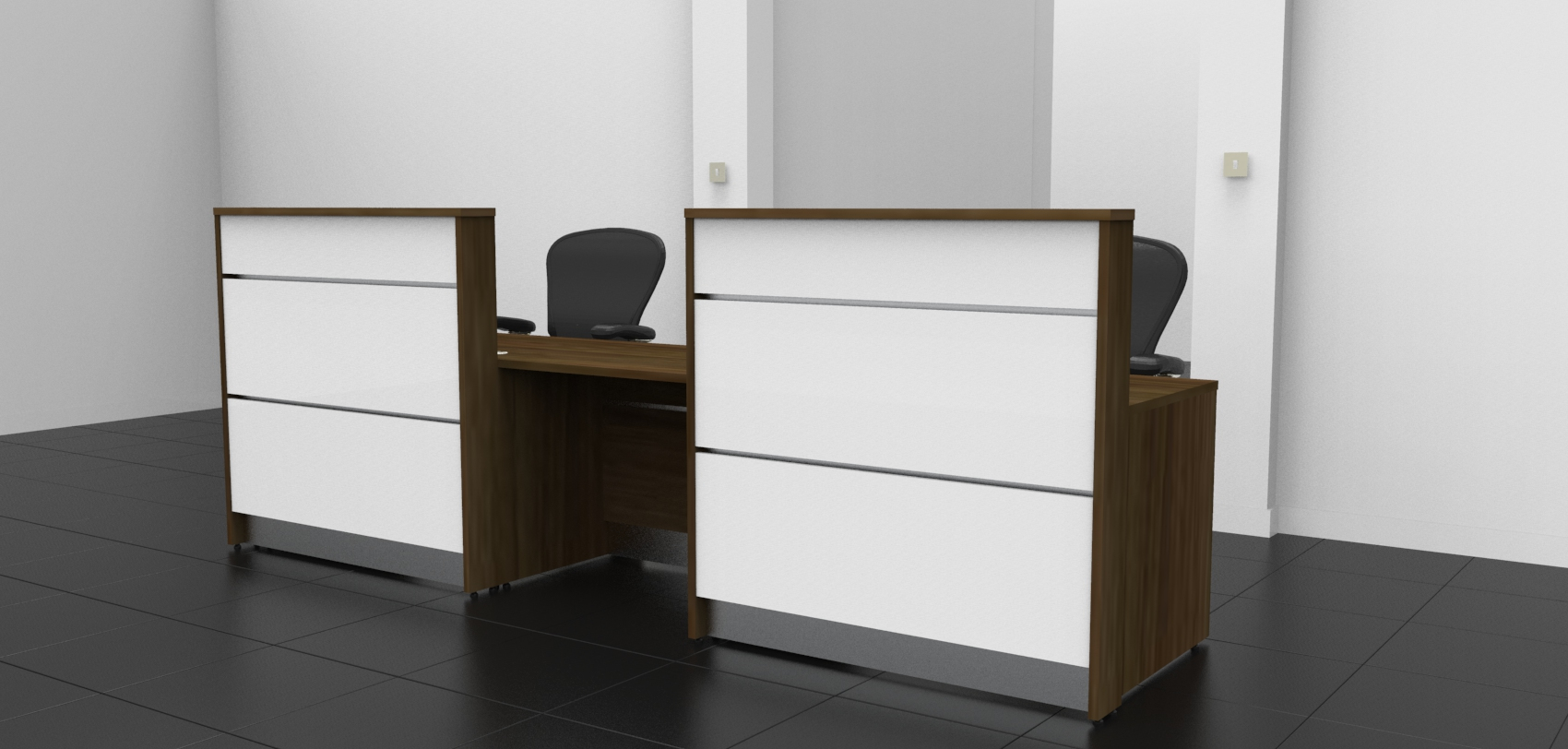 Image 2UA Tall Walnut and Gloss White DDA Union Reception desk