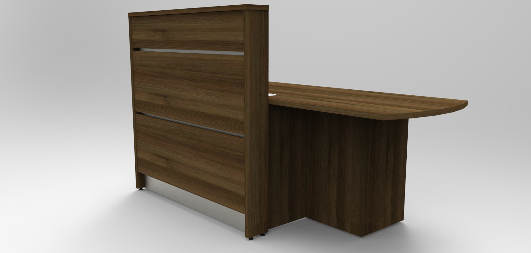Image 3U -Tall Union compact reception desk finished in Walnut showing the low area