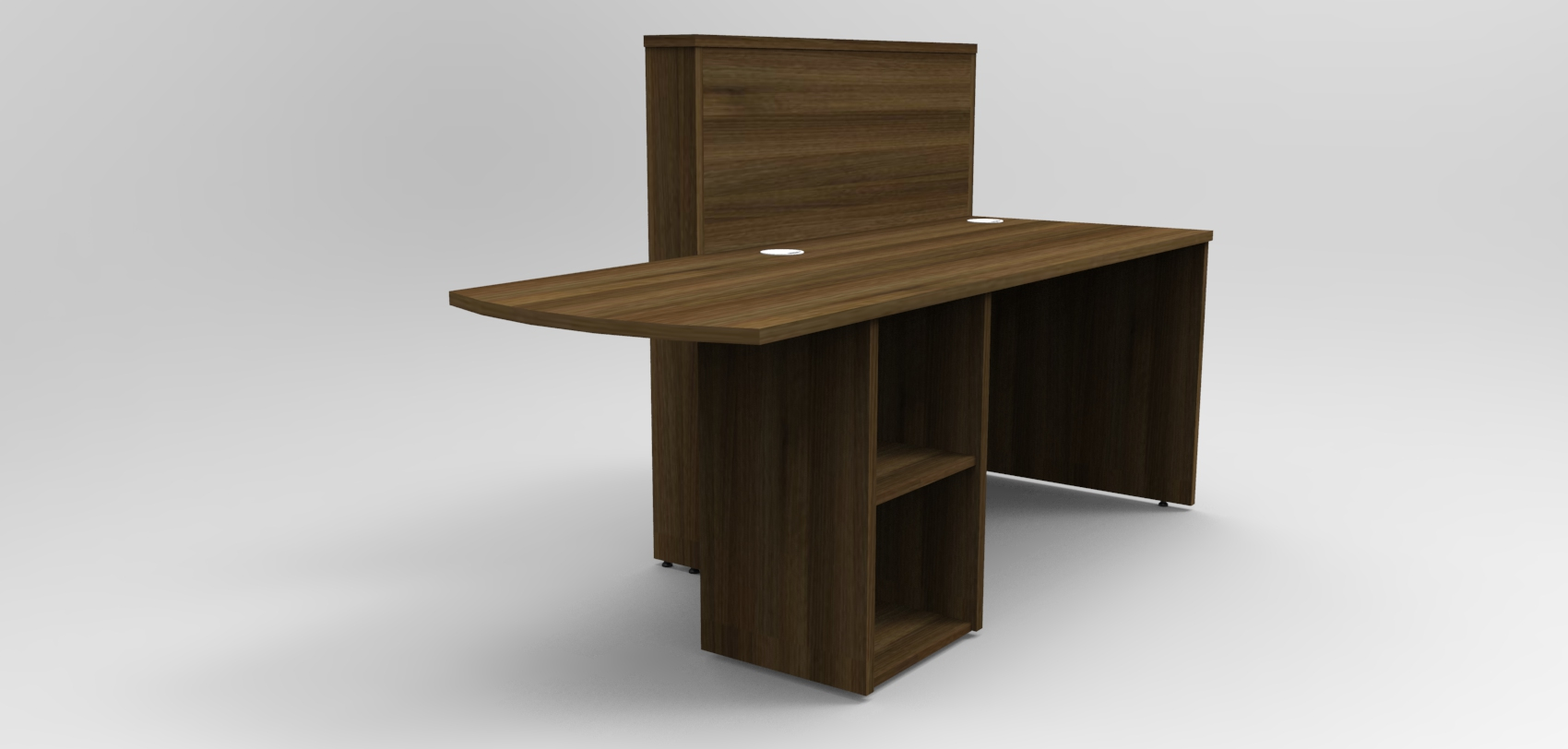 Image 3UA -Tall Union compact reception desk finished in Walnut rear view