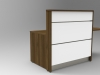 Image U4 - Tall Walnut and White tall compact Union reception desk. Front view