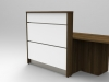 Image 4UA - Tall Walnut and White tall compact Union reception desk showing open low desk