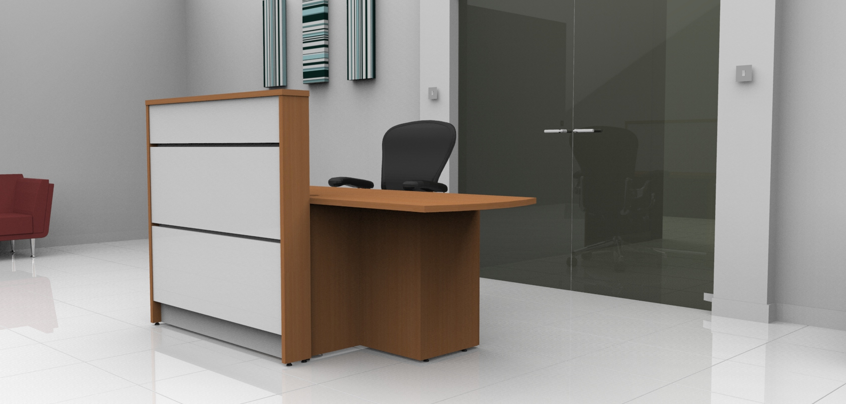 Image U1- Tall Union Compact reception desk finished in Beech and White