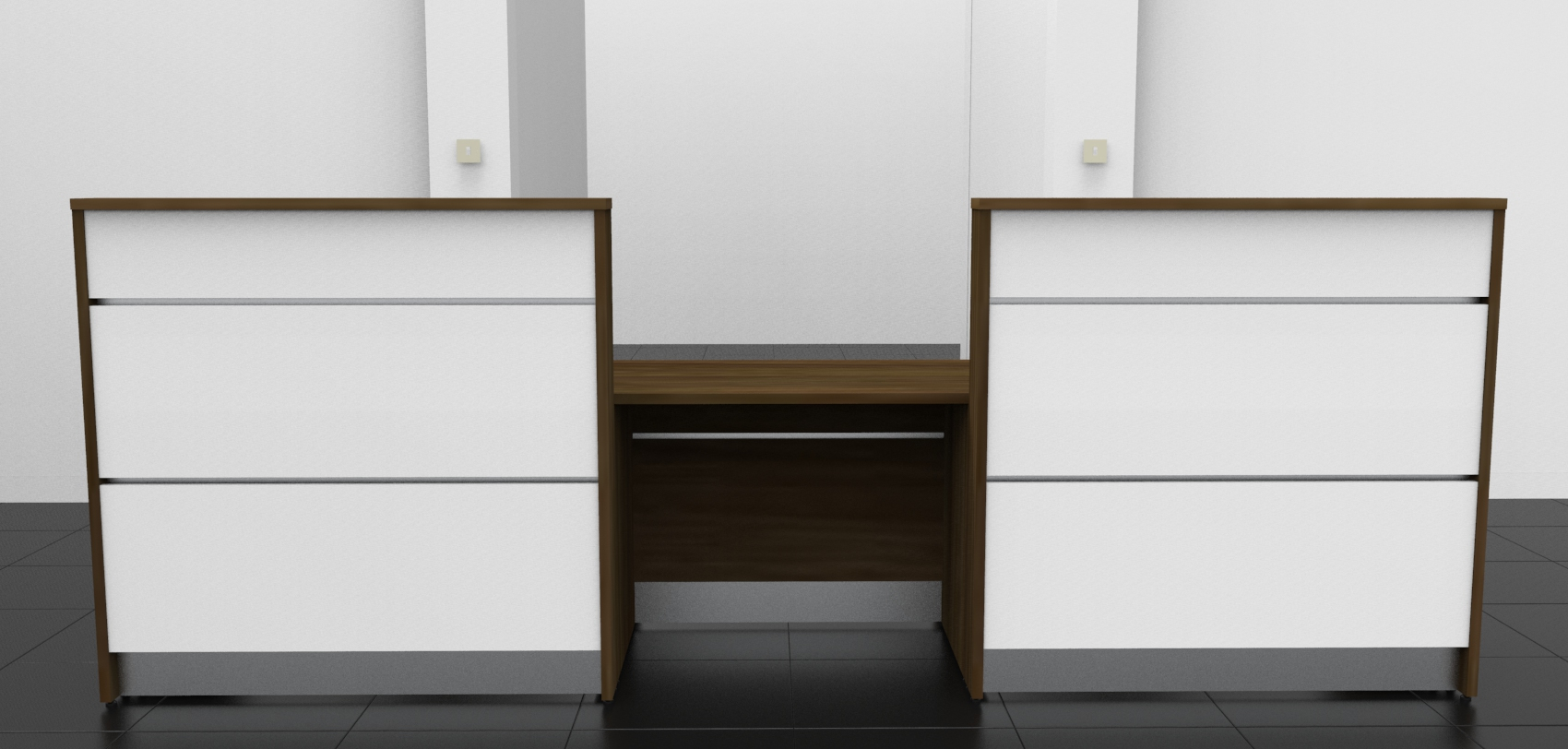 Image 2U - Tall Walnut and Gloss White DDA Union Reception desk front view
