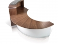 CT593.Crescent reception desk with a top unit and glass counter cap