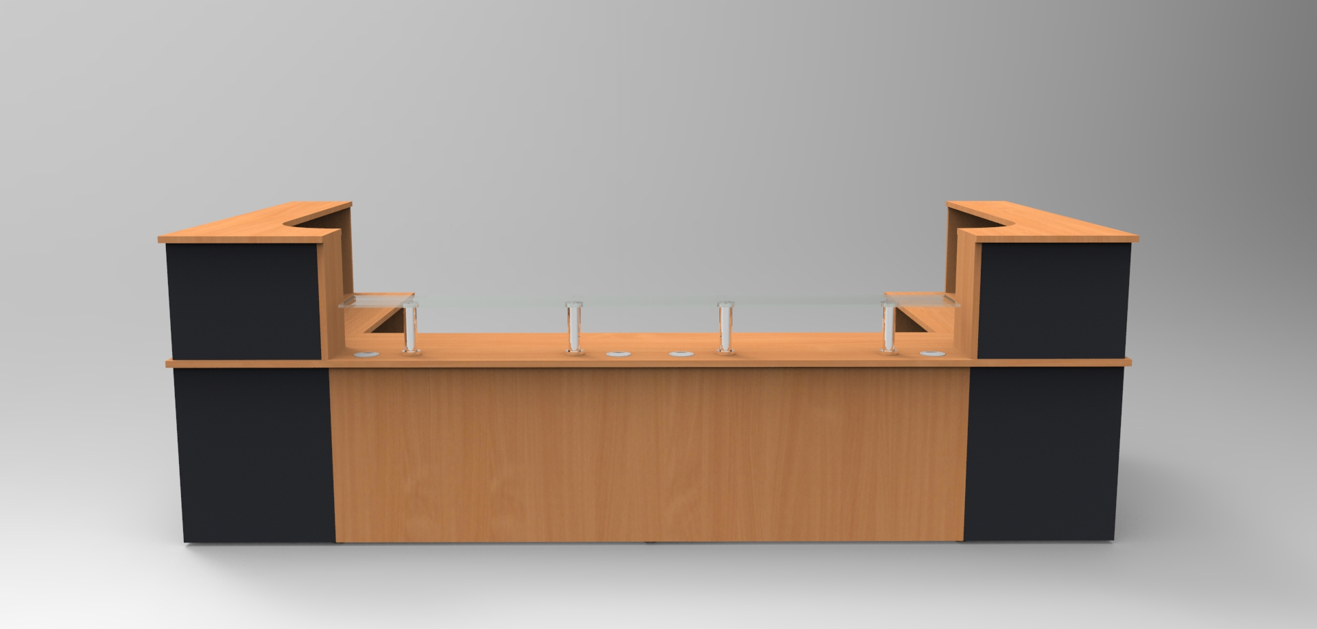 Image 42C - Classic reception desk finished in Beech & Graphite Grey shown with open front units379