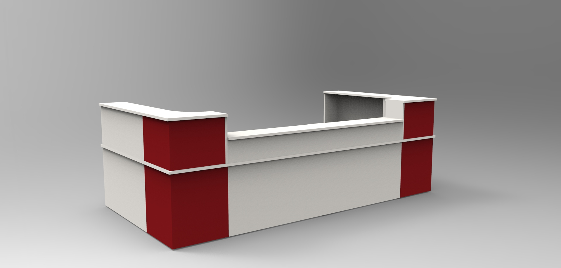 Image 26C -Classic reception desk -Light Grey & Burgundy with a half height top unit