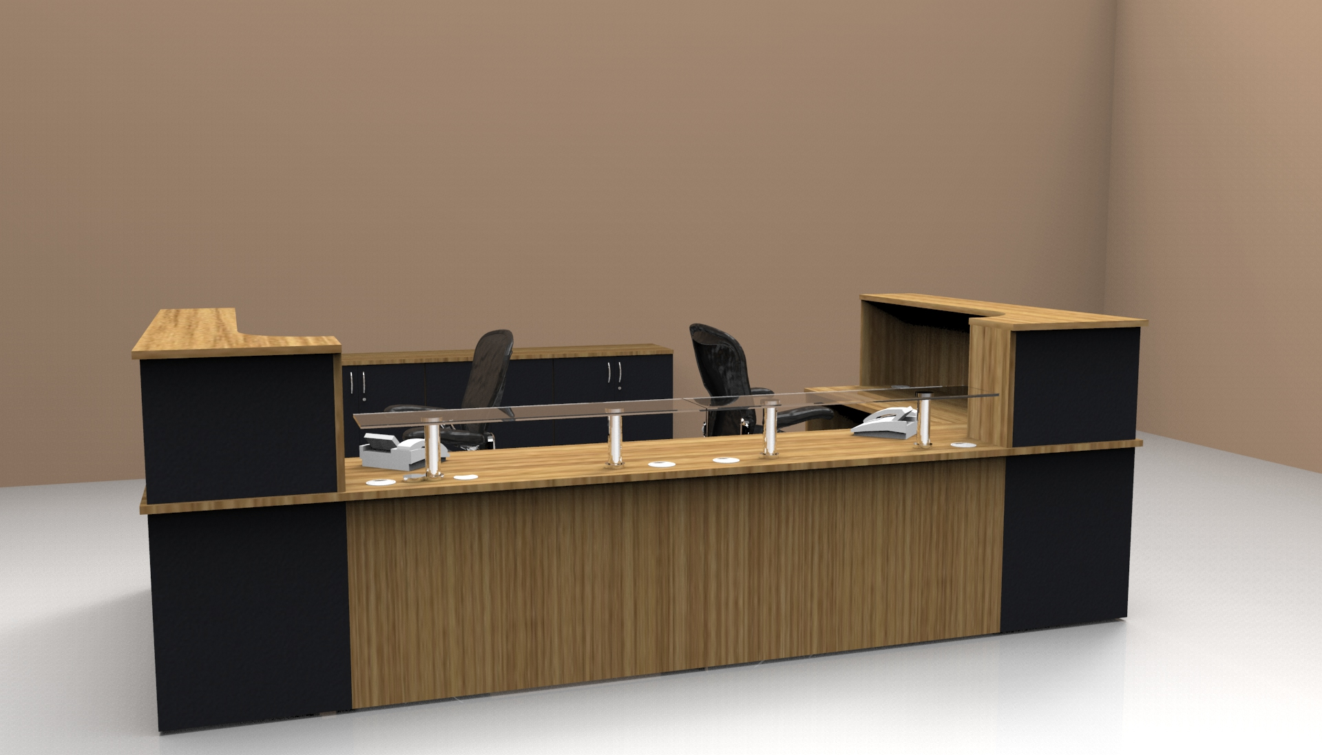Image 13C Classic reception desk finished in Oak and Black with a glass shelf to the front unit with matching storage