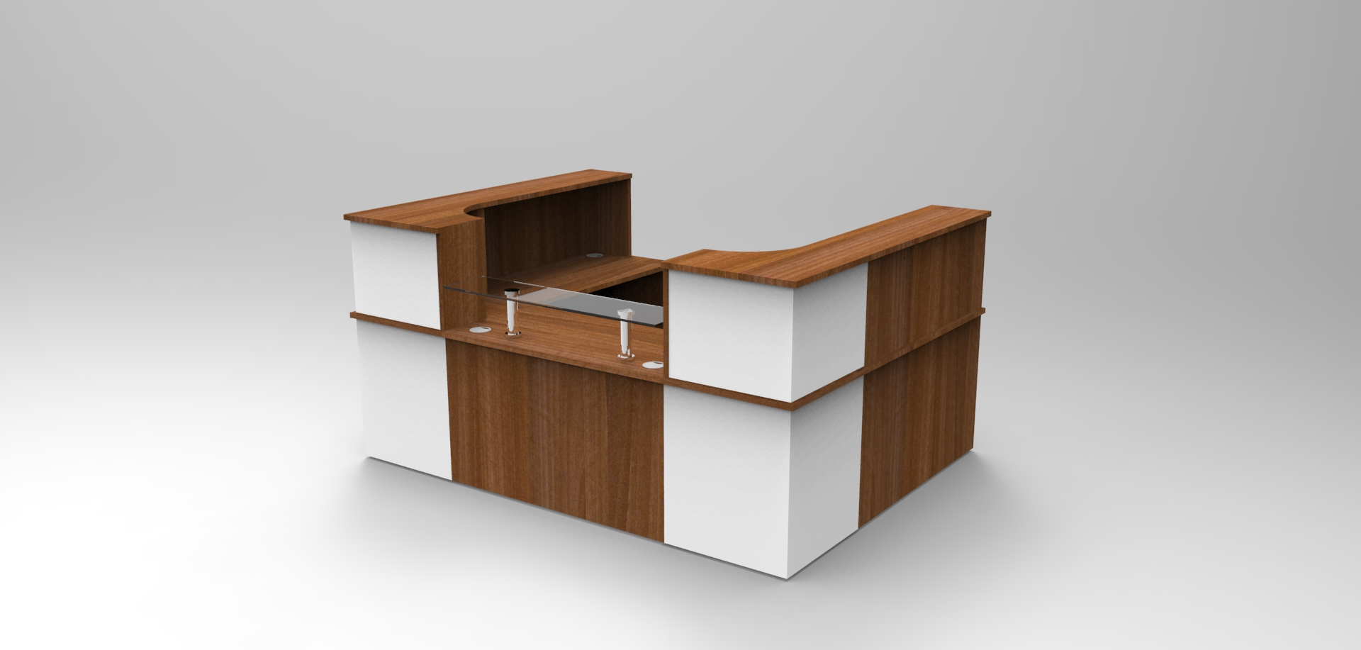 Image 23C -Single Classic reception desk finished in Walnut and White