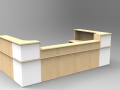 Image 39C - Classic reception desk finished in Paple & White with a half height top unit