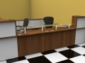 Image 10C  Classice reception desk finished in Walnut and White with matching storage