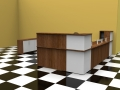 Image 8C - Walnut and White Classic reception desk with only one return side