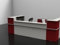 Image 5C Classic reception desk shown in Burgundy and Grey with a low top unit to the front.