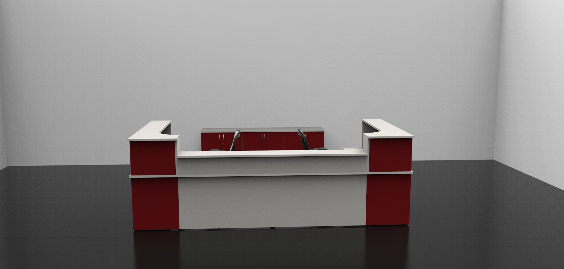 Image 4C- Classic Reception Desk with matching storage. Burgundy and Grey