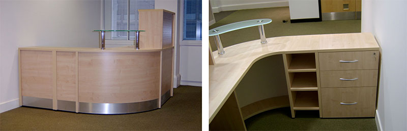Image 53F/CP - Unit B - Flex Compact reception desk with shelf and pedestal storage and glass shelf