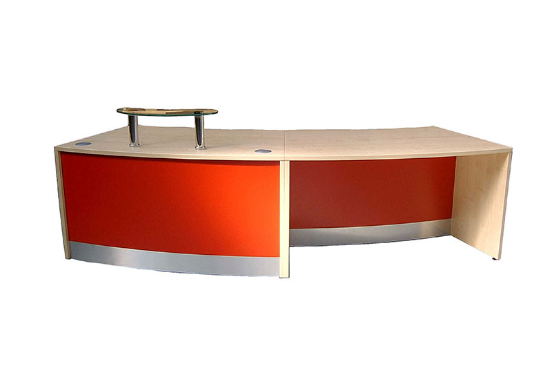 Image 43F - DDA Flex Curved DDA reception desk Beech and Red