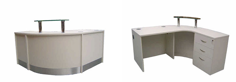 Image 54F/CP -Unit C - Flex Compact reception desk with pedestal storage and glass shelf- Centre for Social Justice