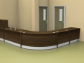 Image 19F Flex dental surgery reception desk with a gate and flap- Walnut