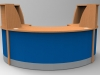 Image 30F/SP - Flex Small Polo reception desk -Beech and Blue  (2166mm wide x 1483mm deep)