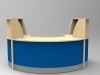 Image 28F/SP - Flex Small Polo reception desk- - Maple and Red  (2166mm wide x 1483mm deep)