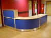 Image 2F -  Flex reception desk  - Maple and Blue -front view
