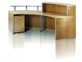 ECFCEBFC609- Curved wood veneer reception desk - rear view