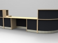 Render- A large Flex DDA reception desk finished in Maple with Graphite Grey modesty panels.