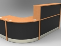 Render -Flex standard modular reception desk finished in Beech and Black