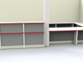 Render - Large bespoke reception desk finished in the clients company colours Light Greyand Titanium with Red edging -Front view
