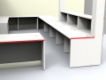 Render - Large bespoke reception desk finished in the clients company colours Light Greyand Titanium with Red edging side/rear view