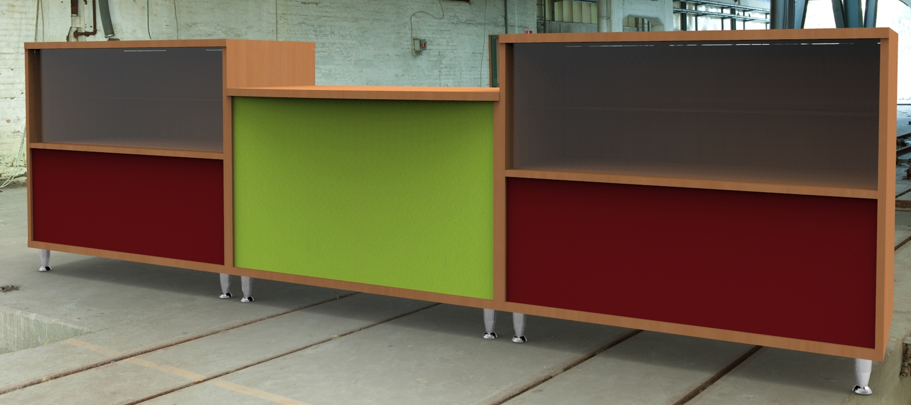 Image 7 Salon - Salon reception counter finished in Beech with Burgundy and Green