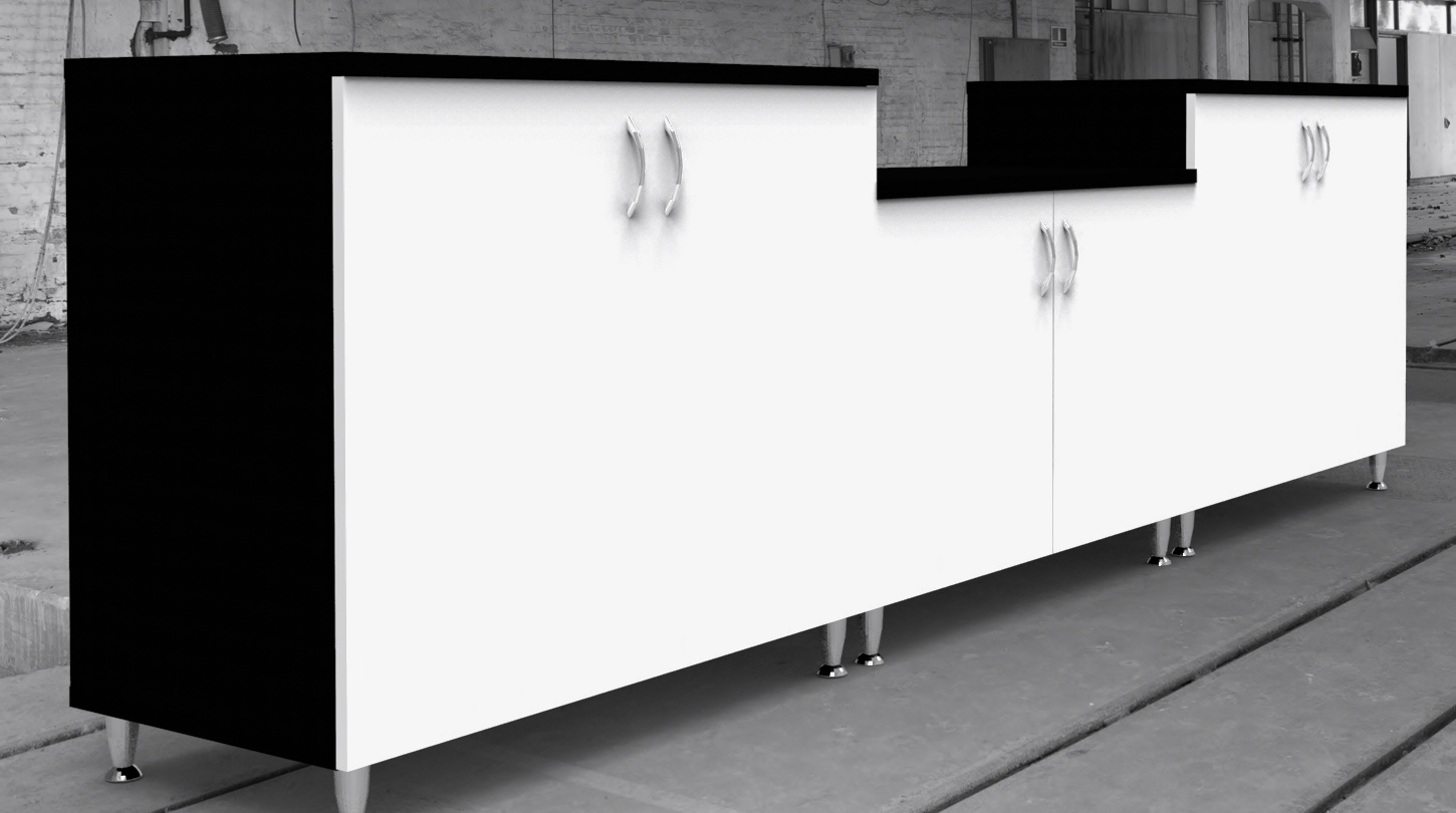 Image 11 Salon - Rear of the Black, White and Blue salon reception counter showing the cupboard storage