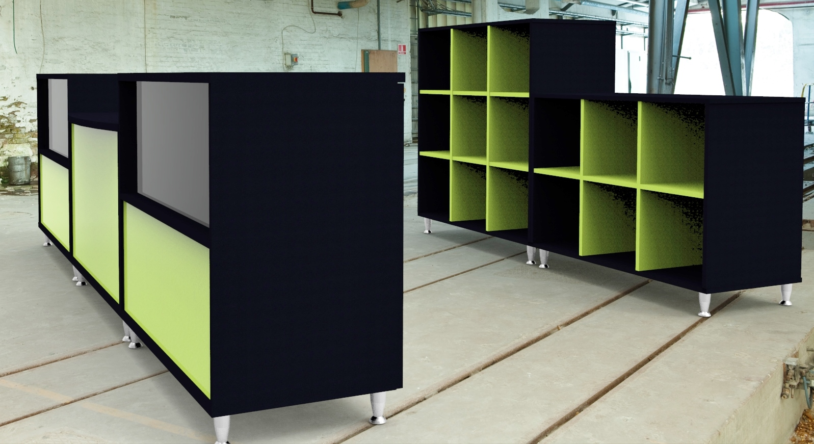 Image 17 Salon - Black and Green dual height open storage units to the back of the salon reception counter