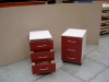 Grey and Burgundy 3 drawer pedestals