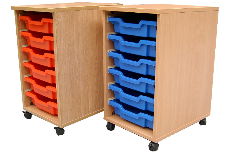 Single wood effect tray units Red & Blue