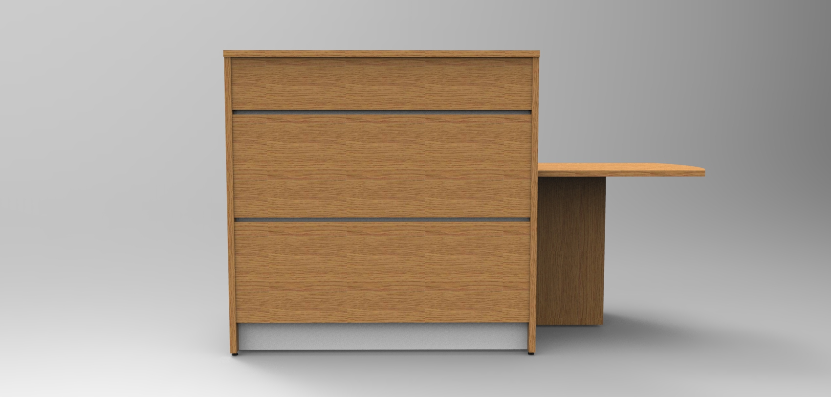 Image 5UA - Tall Union compact Oak reception desk with extension - front view