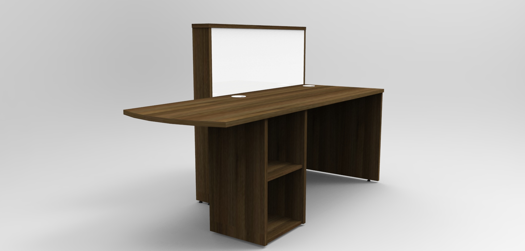 Image 4UB - Tall Walnut and White tall compact Union reception desk. Rear view showing open shelf unit