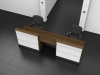Image 2UC Tall Walnut and Gloss White DDA Union Reception desk above view